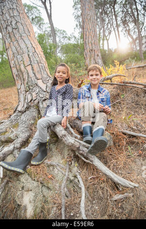 Children sitting on tree roots in forest - Stock Photo