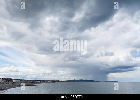 Rain clouds over the east coast of Ireland seen from Bray, County Wicklow, Ireland.