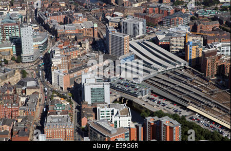 aerial view of Leeds City Station and City Square, UK - Stock Photo