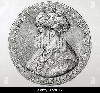 Mehmet III (1429-1481). Turkish Ottoman Sultan (1451-1481). Conquered Constantinople. Engraving. - Stock Photo