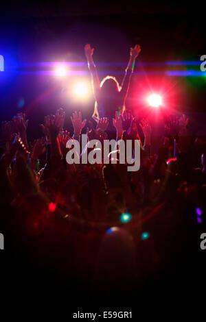 Crowd enjoying concert - Stock Photo