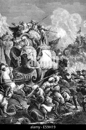 Death of the Nawab Anwaruddin Muhammed Khan, 1672-1749, in a battle against the French, - Stock Photo