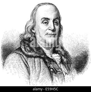 Benjamin Franklin, 1706 - 1790, a North American printer, publisher, writer, scientist, inventor and statesman, - Stock Photo