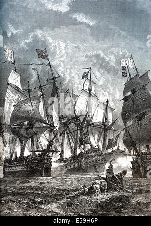 The Battle of Cuddalore between a British and a French fleet off the coast of India near Cuddalore, American Revolutionary - Stock Photo