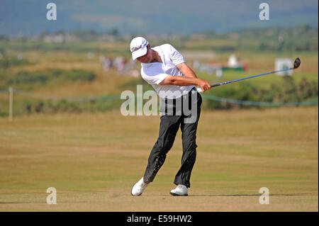 Porthcawl, Wales, UK. 24th July, 2014. Mark Belsham of England on the 13th hole during day one of The Senior Open - Stock Photo