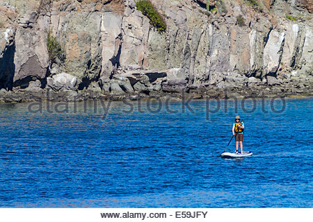 Woman doing stand up paddleboarding in sea - Mexico - Stock Photo
