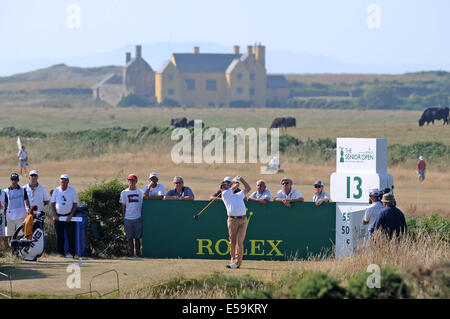 Porthcawl, Wales, UK. 24th July, 2014. Miguel Angel Jiminez tees off on the 13th during day one of The Senior Open - Stock Photo