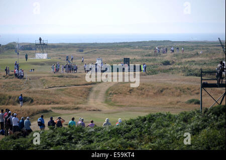 Porthcawl, Wales, UK. 24th July, 2014. Current leader Bernhard Langer tees off on the 12th  during day one of The - Stock Photo