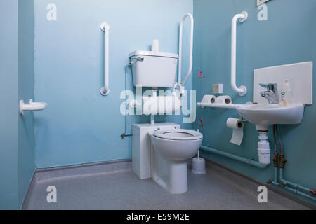 Accessible toilet and wash basin for the disabled, England, UK - Stock Photo
