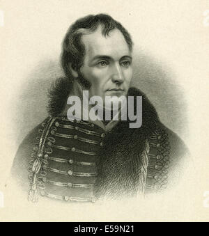 Antique engraving, circa 1860, of Charles Lee. SOURCE: ORIGINAL FIRST GENERATION STEEL PLATE ENGRAVING. - Stock Photo
