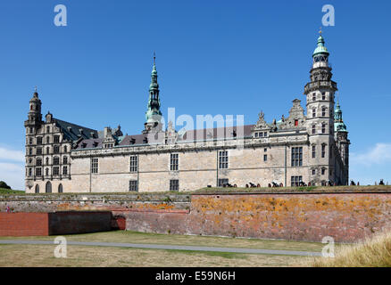 The  renaissance castle Kronborg in Elsinore (Helsingør), Denmark, seen from the beach on a sunny summer day. - Stock Photo