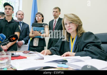 Kiev, Ukraine. 24th July, 2014. JULY 24: The Kiev county administrative court holds a hearing on ban of Communist - Stock Photo