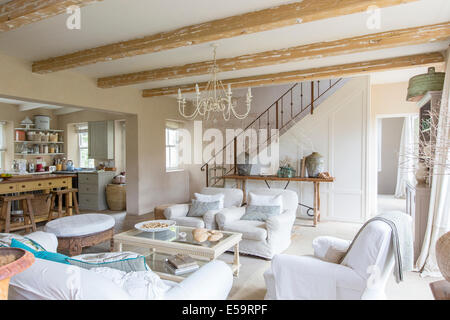 Living room of rustic house - Stock Photo