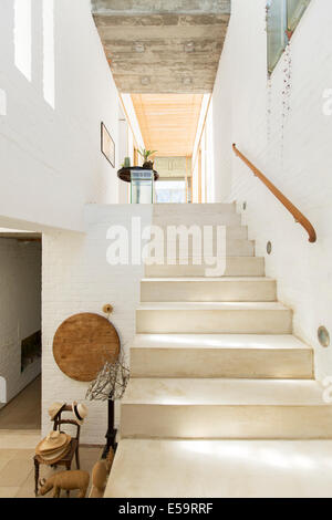 Staircase in rustic house - Stock Photo