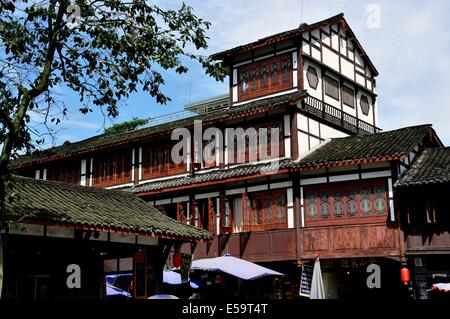 Jie Zi ANCIENT TOWN, CHINA:  Distinguished centuries-old wooden and stucco houses - Stock Photo