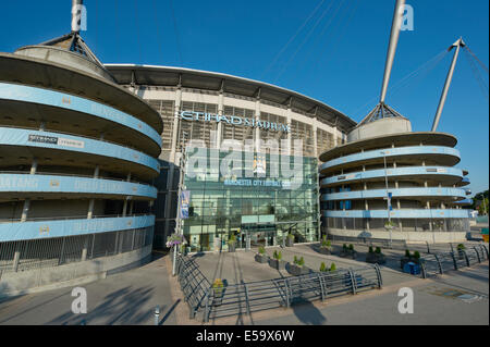 An external view of the Etihad Stadium, home of Barclays Premier League club Manchester City Football Club (Editorial - Stock Photo