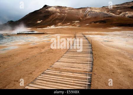 Boardwalk trail at Namafjall Hverir - Myvatn Region, North Central Iceland - Stock Photo