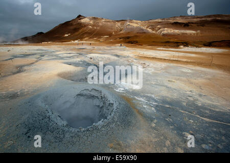 Boiling Mudpools at Namafjall Hverir - Myvatn Region, North Central Iceland - Stock Photo
