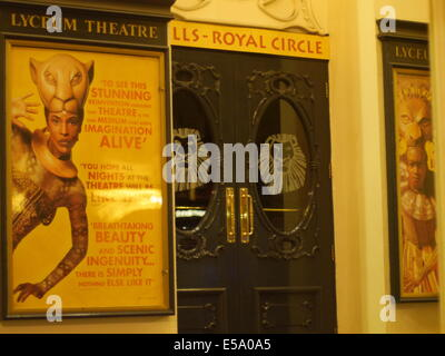 Lyceum Theater at night showing the Lion King at London Theater land  , Disney Stage adaption. Lyceum Photographed - Stock Photo