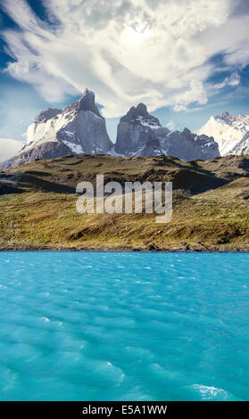 Pehoe mountain lake and Los Cuernos, Torres del Paine National Park, Chile. - Stock Photo