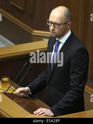 Kiev, Ukraine. 24th July, 2014. Ukraine's prime minister Arseny Yatsenyuk addresses Verkhovna Rada, Ukrainian Parliament. - Stock Photo