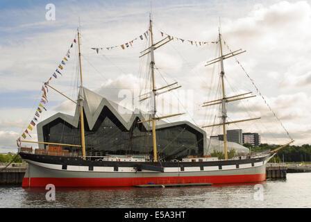 Glenlee Tallship Outside Riverside Museum in Glasgow, Scotland - Stock Photo