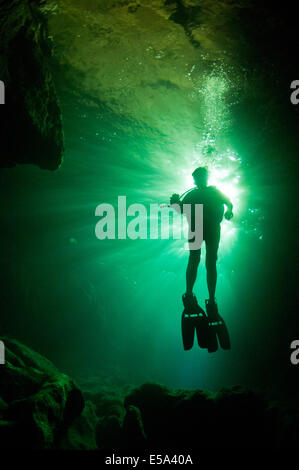 Diver filming with GoPro camera in a cavern is silhouetted against the afternoon sunlight filtering through Snell's - Stock Photo