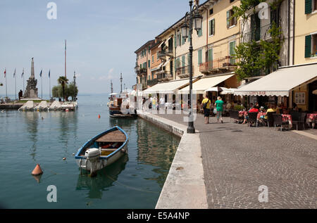 The harbour at Lazise on Lake Garda in Italy - Stock Photo