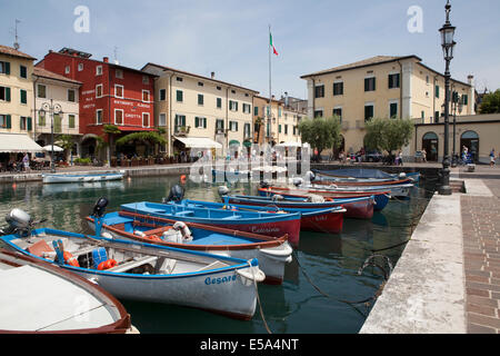 The village of Lazise on Lake Garda in Italy - Stock Photo