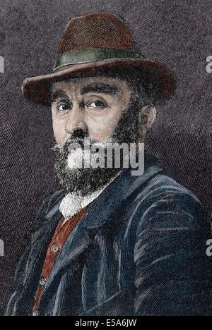Adolf Mannchen (1860-1920). German painter. Engraving. La Ilustracion Artistica, 1899. Colored. - Stock Photo