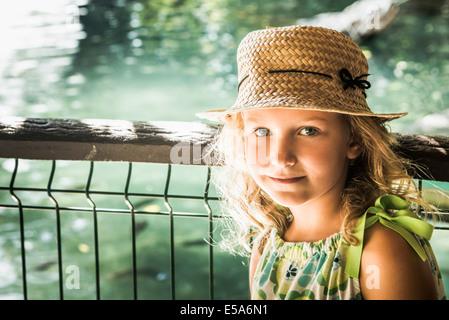 Caucasian girl smiling outdoors