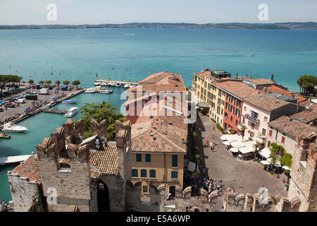 The view from Scaliger Castle over the town of Sirmione on the shore of Lake Garda, Italy - Stock Photo