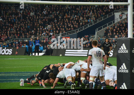 Rugby scrum during the All Blacks Vs England game in the Forsyth Barr Stadium, Dunedin,  played on June 14, 2014 - Stock Photo