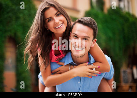 Young couple having a great time together, Debica, Poland - Stock Photo