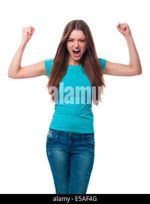 Portrait of angry woman, Debica, Poland - Stock Photo