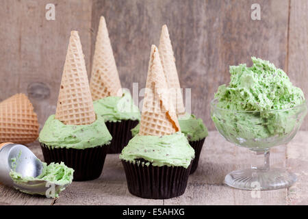 mint choc chip ice cream style cupcakes - Stock Photo