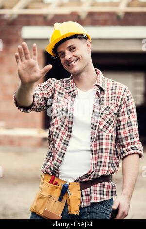 Portrait of construction worker, Debica, Poland. - Stock Photo