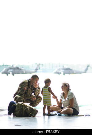 July 24, 2014 - Fort Bragg, North Carolina, U.S. - Warrant Officer CASEY MATULLO spends sometime with his wife, - Stock Photo