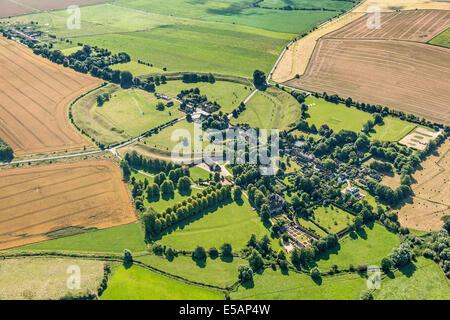 Aerial view of Avebury, Wiltshire, UK. JMH6175 - Stock Photo