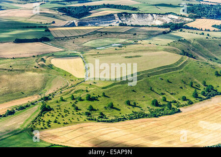 Aerial view of Bratton Camp, near Westbury, Wiltshire, UK. JMH6194 - Stock Photo