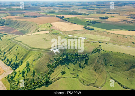 Aerial view Westbury White Horse at Bratton Camp, Wiltshire, UK. JMH6195 - Stock Photo