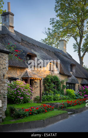 Thatch roof cottage in Broad Campden, the Cotswolds, Gloucestershire, England - Stock Photo