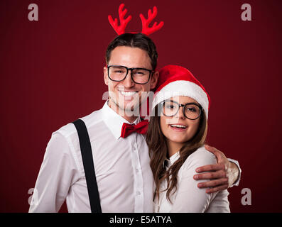 Portrait of lovely couple in Christmas time Debica, Poland - Stock Photo