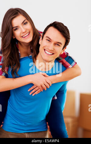Portrait of a young happy and loving couple Debica, Poland - Stock Photo