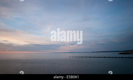 Aberaeron , Cardigan Bay, West Wales, Wales, UK;  view from harbour entrance looking north across Cardigan Bay. - Stock Photo