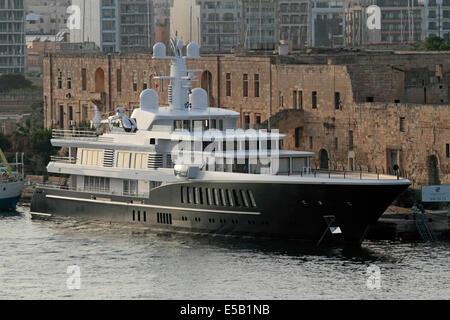 The 81-metre Feadship superyacht 'Air' berthed at Manoel Island, Malta - Stock Photo
