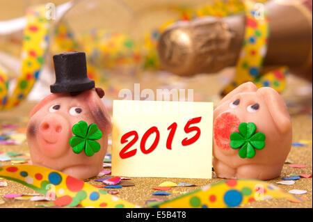 talisman in marzipan for new year 2015 - Stock Photo
