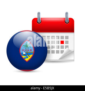 Calendar and round flag icon. National holiday in Guam - Stock Photo