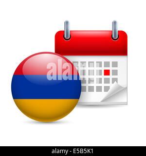 Calendar and round Armenian flag icon. National holiday in Armenia - Stock Photo