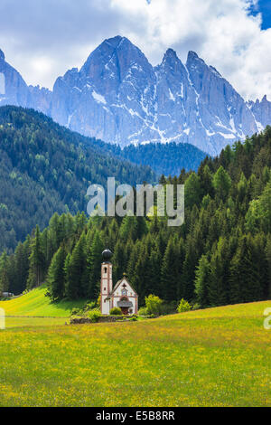 St. Johann (San Giovanni in Italian) chapel in Val di Funes in the Dolomites in northern Italy - Stock Photo